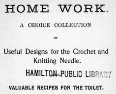 Title page of Home Work, a knitting book from the 1800's