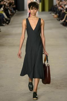 Simplicity at Its Best - Black Sleeveless Dress with a V Neckline by Boss Fall 2016 Ready-to-Wear Fashion Show