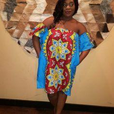 Multicolored African Print mini dress