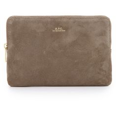 A.P.C. Agathe Pouchette (370 CAD) ❤ liked on Polyvore featuring bags, handbags, clutches, taupe, brown leather pouch, leather handbags, taupe leather purse, leather purse and genuine leather handbags