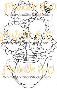 Digital+Stamp+Sunflower+Teapot+by+WhimsyAndStarsStudio+on+Etsy,+$3.00