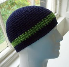 Jared  MANS STRIPED HAT in Navy Blue and Apple Green (Pattern available).  Thursday's Handmade Love Week 85 ~ Theme - Mens Winter Hats ~ Crochet Addict UK http://www.crochetaddictuk.com/2013/11/thursday-handmade-love-week-85.html