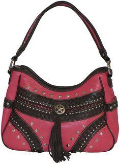 Montana West Concealed Carry Purse Western Style Handbag Lone Star Tassel Pink