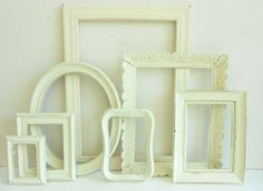Picture Frame Collection - Vintage Ornate Shabby Chic - Cottage White Distressed Finish - Gallery Wall - Wedding Frames - Home Decor