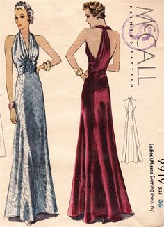 USA Mc Calls deco vintage long glamorous evening dress sewing pattern 9919 in Collectables, Sewing, Fabric & Textiles, Patterns Moda Vintage, Vintage Vogue, Evening Dress Patterns, Dress Making Patterns, Vintage Dress Patterns, 1930s Fashion, Art Deco Fashion, Vintage Fashion, Vintage Outfits