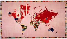 December - Artist research - Alighiero Boetti Mappa 1979 Tate Modern - Beautifully delicately done Map Pictures, Photos, Pattern And Decoration, New York Art, Italian Artist, Sculpture, Map Art, Moma, Textile Design