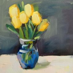 Yellow Tulips in the Living Room    12 x 12 x 1 inch (30.48 x 30.48 cm)    Oil paint on premium stretched canvas, gallery-wrapped on wood stretcher
