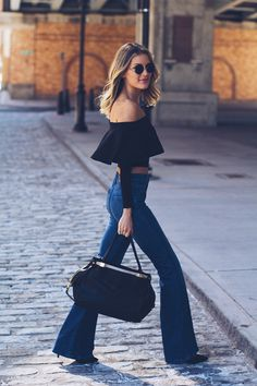 flare jeans and crop top | lindsay marcella