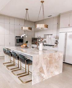 Stunning light gray slab door kitchen with a huge waterfall island via Luxury Kitchen Design, Kitchen Room Design, Home Room Design, Dream Home Design, Home Decor Kitchen, Modern House Design, Interior Design Kitchen, Home Kitchens, Interior Modern