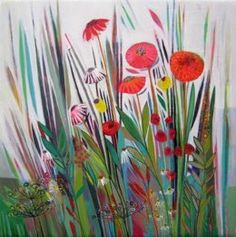 contemporary floral original shyama ruffell painting chelsea flower show limited edition fine art print colourful abstract Garden Studio, A Level Art, Chelsea Flower Show, Artist At Work, Oil On Canvas, Watercolor Paintings, Fine Art Prints, Arts And Crafts, Contemporary