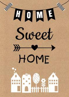Home sweet home - Verhuiskaart kraft, verkrijgbaar bij #kaartje2go voor € 1,89