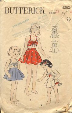 Butterick 4853 Girls 1940s One or Two Piece Swim by CynicalGirl, $24.00