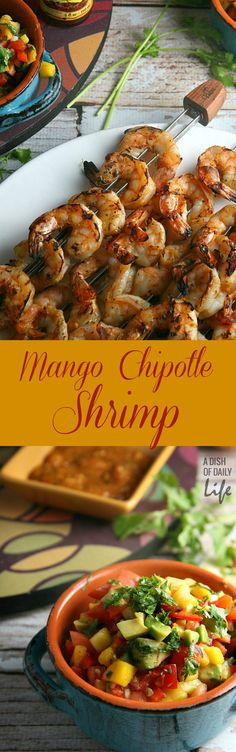 Mango Chipotle Shrimp…sweet mango paired with smoky chipotle makes for a barbeque sauce sensation! Perfect for dinner on the patio or a summer party, this grilling recipe takes just over 30 minutes from start to finish. Shrimp Dishes, Fish Dishes, Shrimp Recipes, Fish Recipes, Mexican Food Recipes, Great Recipes, Favorite Recipes, Shrimp Appetizers, Recipes Dinner