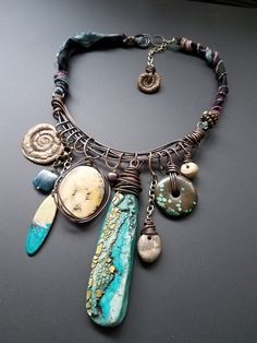 polymer clay, fossils, bronze clay charm choker, staci louise originals www.stacilouiseoriginals.com #stacilouiseorignals