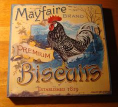 MAYFAIRE BISCUITS ROOSTER ADVERTISING Speckled Chicken Kitchen Sign Home Decor #FrenchCountry
