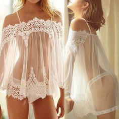 Crochet Lace Nightgowns Sexy Lingerie Sleepwears Women Sleeveless Summer Dresses Babydoll Sleepwear Nightwear Vestidos Plus Size