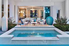 Photo from Florida Design Mag Backyard Pool Designs, Small Backyard Pools, Small Pools, Swimming Pools Backyard, Swimming Pool Designs, Outdoor Spaces, Outdoor Living, Kleiner Pool Design, Florida Pool