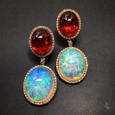 Gioielleria Martini Earrings with opal and white diamonds set in rose gold. #opalsaustralia
