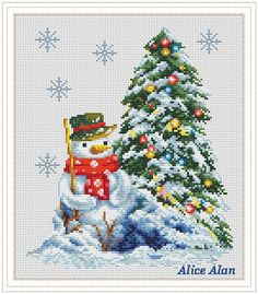 In anticipation of holiday Snowman the decorated от HallStitch