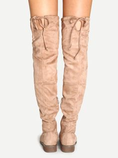 Apricot Faux Suede Over The Knee Zipper Boots