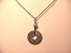 Necklace Chinese coin & green bead by CrystalinasCreations on Etsy, $10.95