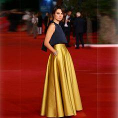 Cheap Alta calidad por encargo oro faldas una línea longitud del piso bolsillo de la falda falda larga, Compro Calidad Faldas directamente de los surtidores de China: