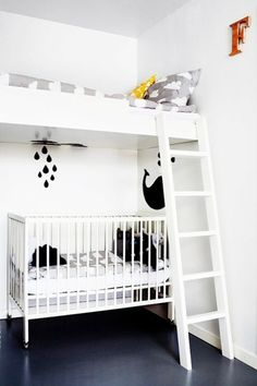 Lofted Bed For Shared Kid's Space - Tips For Stylish Small Space Nurseries - Photos