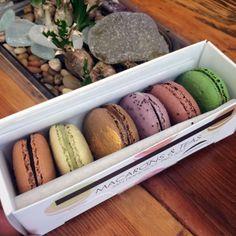 Earl Grey Tea, Jasmin Green Tea, Salted Caramel, Lavender-Blackcurrant, Persian Rose, Italian Pistachio macarons - at Chantal Guillon, San Francisco CA