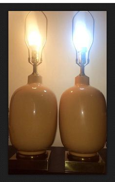 Pair of Frederick Cooper Chicago Ceramic Large Peach Color Glaze table lamps Hollywood Regency with Fat Brass Base.  in wonderful condition by VintageWhiskyCowgirl on Etsy