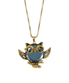 Love this Smoke & Goldtone Glasses Owl Pendant Necklace by Frankie & Stein on #zulily! #zulilyfinds