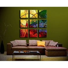 #9: Impression - Modern Oil Painting on Canvas Stretched Framed with Wooden Frame - Return shipping covered for continental US regions.