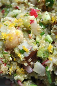 Golden quinoa salad with radish, cukes, avocado, dill in a smoky ...