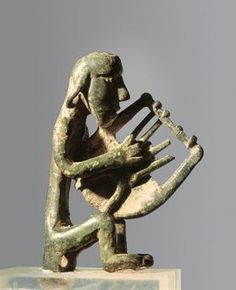 Singer with lyre. Bronze figure (10th-6th BCE) Geometric Period. Archaeological Museum, Heraklion, Crete
