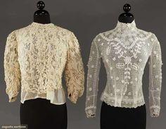 TWO HAND MADE LACE BLOUSES, 1905-1910  1 Irish crochet; 1 Battenburg lace