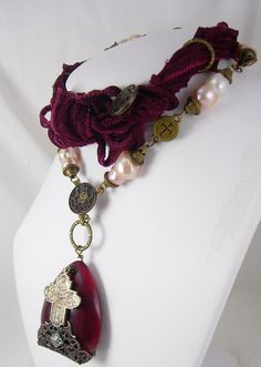 Genuine pearl Religious icon necklace DEEP red by vintagesparkles, $210.00