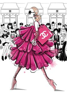 Fashion Show - Pink Canvas Art by Aaron Favaloro Megan Hess Illustration, Illustration Art, Pink Canvas Art, Canvas Art Prints, Canvas Wall Art, Chanel Wallpapers, Cute Wallpapers, Insect Art, Fashion Wall Art