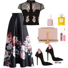 A fashion look from April 2017 featuring bandeau top, long skirts and pink pumps. Browse and shop related looks. Classy Outfits, Chic Outfits, Beautiful Outfits, Dress Outfits, Girls Fashion Clothes, Fashion Dresses, Look Fashion, Girl Fashion, Modelos Fashion