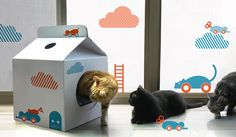 I would totally get this adorable cardboard milk carton #cat house if I could ever find it! Maybe I can DIY IT ... | #hauspanther