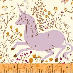 Far Far Away by Heather Ross UNICORN in Lavender Windham Fabrics - Unicorns Purple princess fabric  -  1 Yard