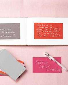 Homemade Guest Book - Leave rectangles of colored paper on the sign in table with different pens and let guests write out their well wishes.  Paste all the cards in a book for your home made guest book!