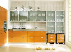 Kitchen Cabinet, Modern Frosted Glass Kitchen Cabinet With 2 Rolling Drawers Cabinet And White Tile Porcelain Backsplash: Tips To Pick The Kitchen Cabinet With The Modern Style