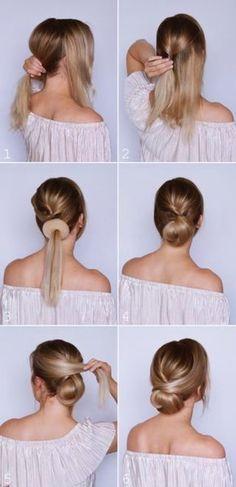 Ideas for braids updo tutorial simple Curly Hair Styles, Medium Hair Styles, Low Bun Tutorials, Hair Tutorials For Medium Hair, Simple Updo Tutorial, Chignon Tutorial, Up Dos For Medium Hair, Hair Medium, Updos For Medium Length Hair Tutorial