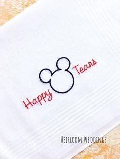 Happy Tears Disney Wedding Handkerchief Embroidered Monogrammed Mickey Mouse custom handkerchiefs hankie gift by HeirloomWeddings Disney Cruise Wedding, Disney Wedding Gifts, Wedding Gifts For Guests, Wedding Party Favors, Disney Bride, Disney Honeymoon, Disney Weddings, Wedding Invitations, Nyc Wedding Venues