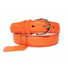 Womens Leather Dress Skinny Belt In Many Colors (X-Large, Neon Orange) Made by #Private Island Color #Neon Orange