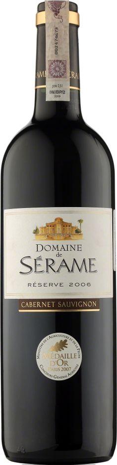 Domaine de Serame Cabernet Sauvignon Reserve Vin de Pays D'Oc Wino pełne aromatów dojrzałych, czerwonych owoców, głównie czarnych porzeczek. Dominują nuty korzenne, łagodne taniny. Wino o długiej końcówce. #Winezja #Langwedocja #Cabernet #Wino Cabernet Sauvignon, Saint Chinian, Bottle, Flask, Jars