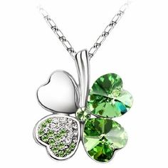 "Swarovski Elements Crystal Four Leaf Clover Pendant Necklace 19""-CN9034SG - http://cheune.com/a/15820877114310861"