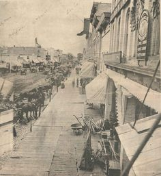 Downtown Greenville, Michigan. 1880s. Wooden sidewalks.