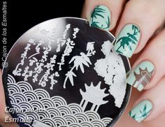 Uñas con diseños orientales o asiáticos - Placas Hehe 45  http://www.ladyqueen.com/bamboo-chinese-wave-pavilion-nail-art-stamp-template-image-plate-hehe045.html