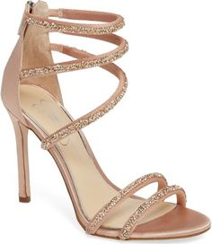 Jessica Simpson Jamalee Glitter Sandal in Pink. Slender glitter-encrusted straps wrap beguilingly up the front of a tall, breezy sandal set on a towering penthouse stiletto. Strappy Shoes, Stiletto Shoes, Lace Up Heels, High Heels Stilettos, Shoes Heels, Blush Heels, Prom Shoes, Wedding Shoes, High Heels
