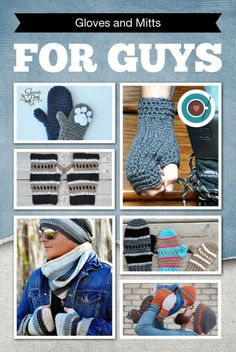 Roundup of 6 crochet patterns for gloves and mitts for men on Crochet Cafe | It's so hard to #crochet #patterns for Gloves and Mitts for my boys. These are great for Guys (and Girls)!